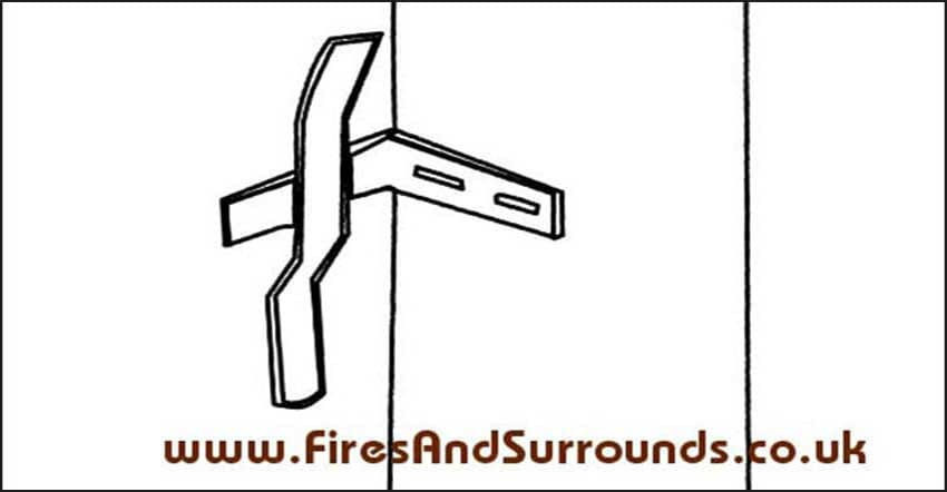 Diagram of the fitted fireplace brackets